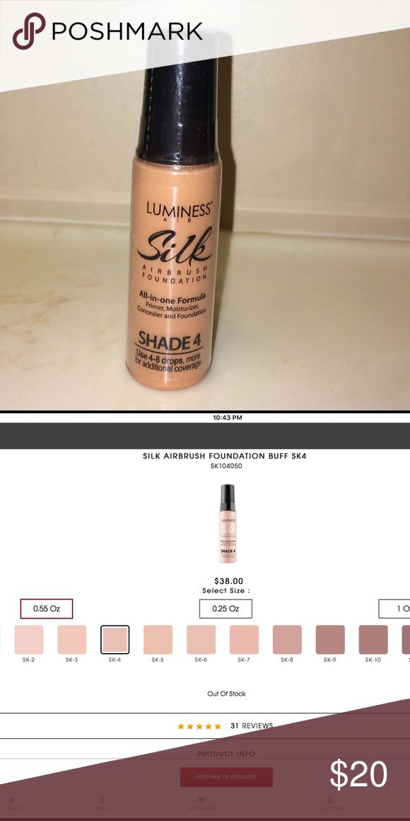 SILK AIRBRUSH FOUNDATION SK4 - NEW - LARGE .55 oz. Sheer-medium coverage, lightweight formula, Smooth & silky finish, Natural sheen & warmth, Formulated w/hydrolyzed silk fibers, neem extract, natural humectants & vitamin E, Reduces appearance of fine lines & wrinkles, No makeup buildup, Weightless all-day wear (up to 18 hrs), Water & sweat-resistant, Paraben, fragrance & oil-free, Noncomedogenic, Dermatologist & ophthalmologist tested, Suitable for all skin types, Never tested on animals…