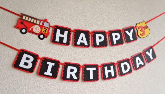 Fire Truck Birthday Banner for Firetruck/ Fireman Party by FeistyFarmersWife