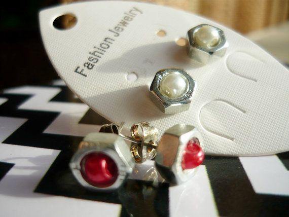 OOAK Screw NUT Earrings Studs 2 pairs Cadmium steel by Spondeo