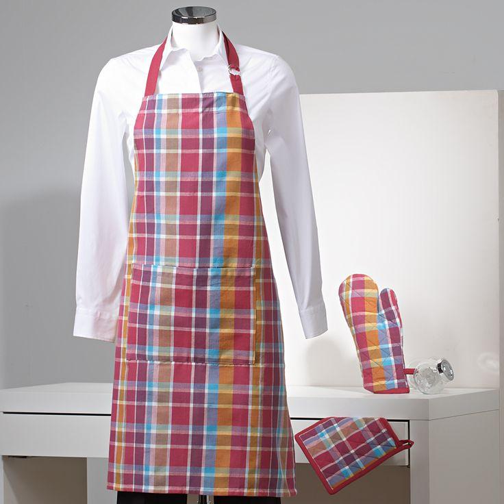 Conjunto de Cocina Estampado a Cuadros - Delantal, paño para el horno y manopla.