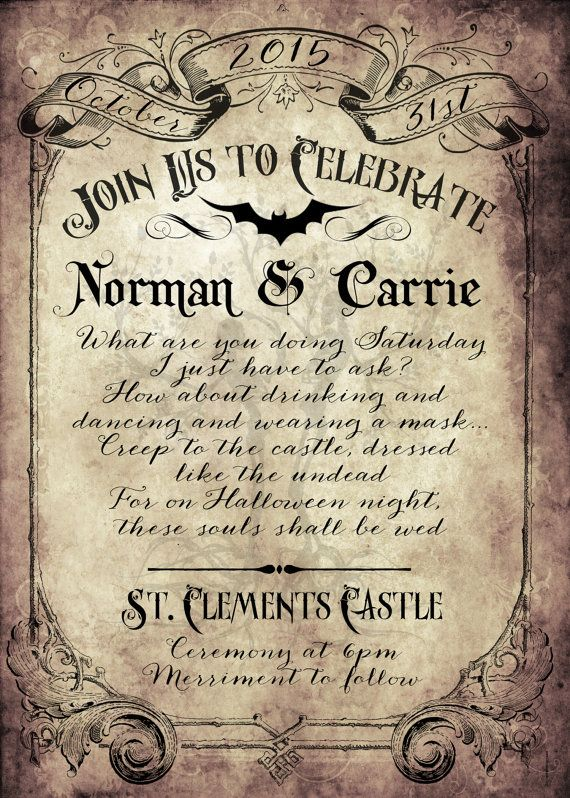 These fun Vintage Victorian wedding Invitations are perfect for your Victorian Halloween, Fall,Carnival, rustic or Offbeat Wedding Celebration!