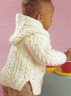 Modèle de tricot pour bébé cardigan aran Câble de veste pour enfants de 0 à 8 ans PDF Téléchargement instantané n ° 187   – stricken