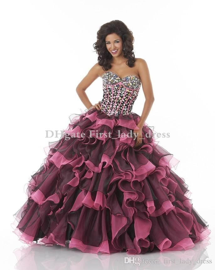 New Style Two Mix Colors Pink And Black Quinceanera ...