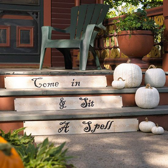 Welcome trick-or-treaters with an eerie Halloween greeting. More black-and-white Halloween decorations: http://www.bhg.com/halloween/indoor-decorating/spell-binding-halloween-decorations/?socsrc=bhgpin101413stairs&page=3