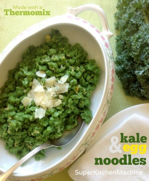 Thermomix egg noodles kale recipe