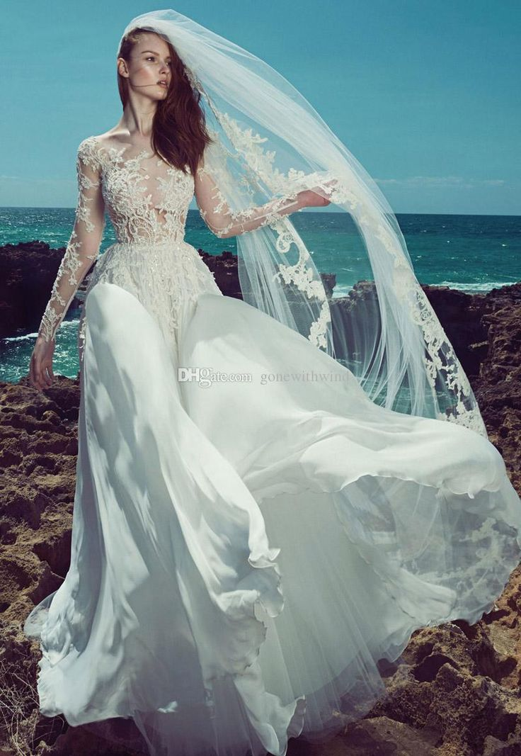 Long Sleeve Beach Wedding Dresses 2017 Zuhair Murad Bridal Lace Appliques Beaded Illusion Bodice Scoop Neckline Chaple Train Wedding Gowns Debenhams Dresses Lace Wedding Dress From Gonewithwind, $2010.06| Dhgate.Com