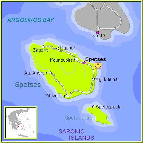 Mapa de la isla de spetses, en las Islas Griegas del Sarónico, Cýcladas, Grecia.