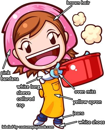 Cooking Mama costume idea (WHY DIDN'T I THINK OF THIS? So easy... I could just pull stuff from my closet for this.)
