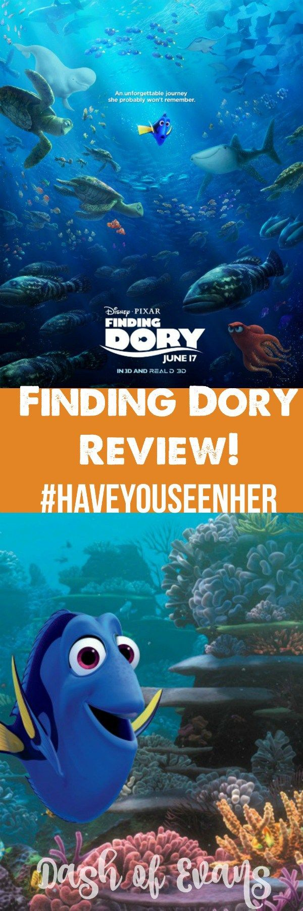 She's finally back: have you seen her? Check out Finding Dory in theaters NOW. Review by @DashOfEvans #Disney #FindingDory #HaveYouSeenHer