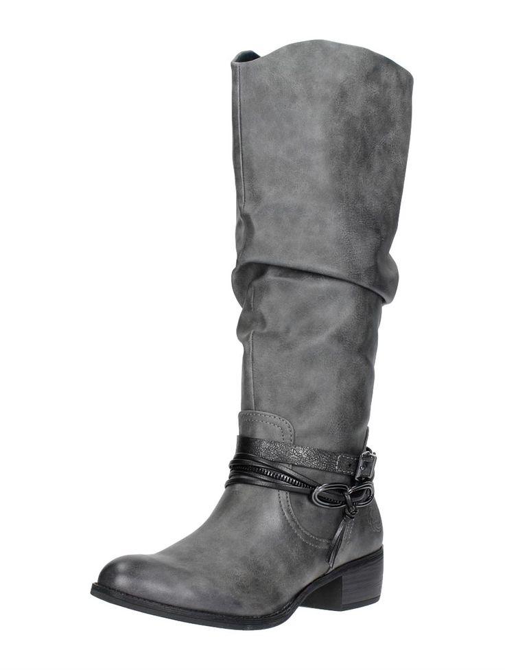 Marco Tozzi lange laarzen met hak - grijs