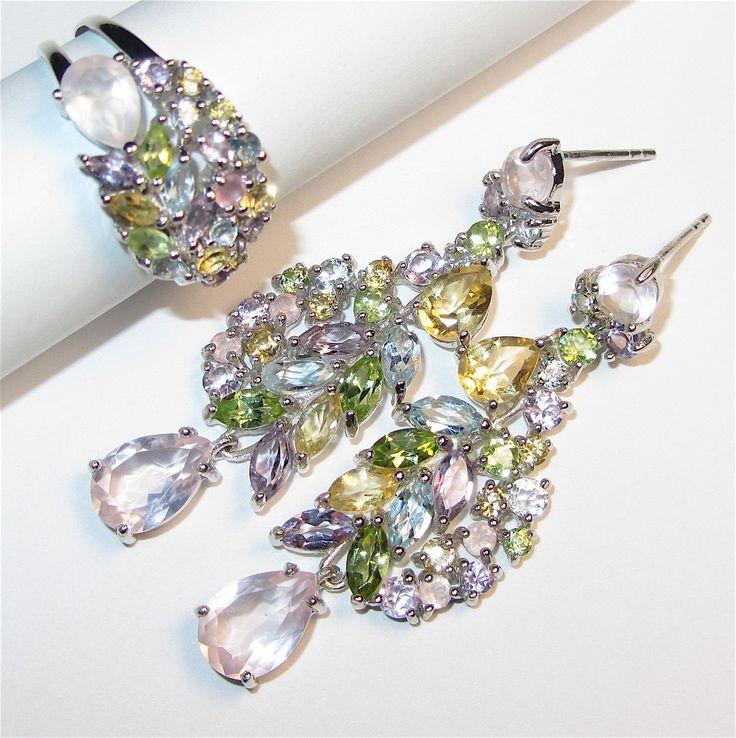 Купить Серьги и кольцо с розовым кварцем, самоцветами серебряные - комбинированный, розовый кварц, серьги с кварцем