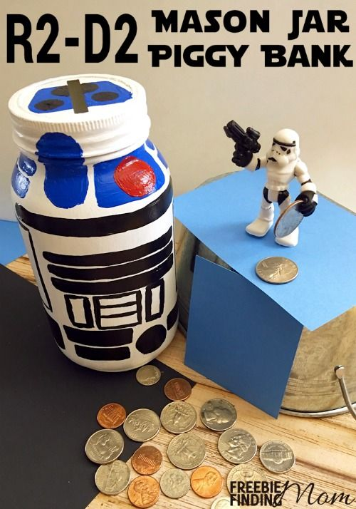 R2 d2 mason jar piggy bank diy gift in a jar for kids for Mason jar piggy bank