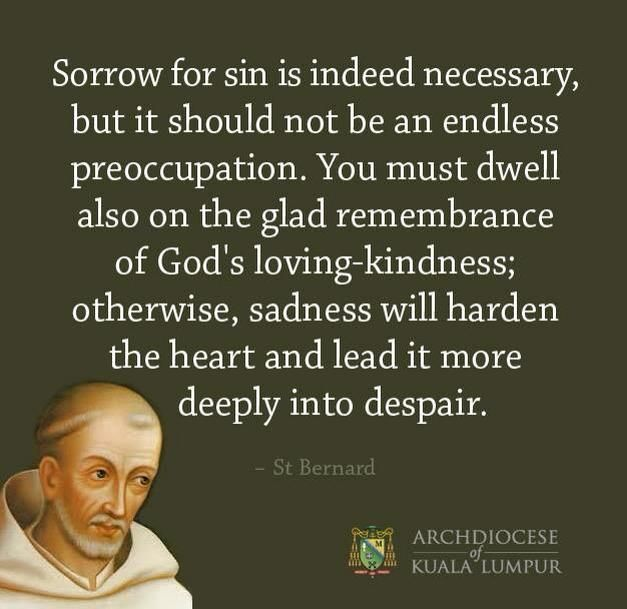 Sorrow for sin is indeed necessary, but it should not be an endless preoccupation. - St. Bernard