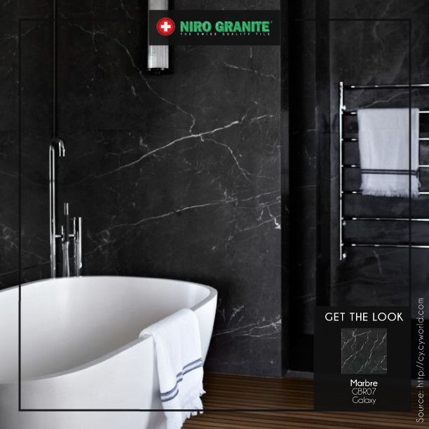 Don't miss any room at home to look stylish and elegant - including your bathrooms. Complete the look with the stunning Niro Granite's Marbre GBR07 Galaxy. Its black colour and beautiful design will suit your perfect bathroom. Go to http://www.nirogranite.co.id/product/marbre for more on beautiful shades of Marbre.