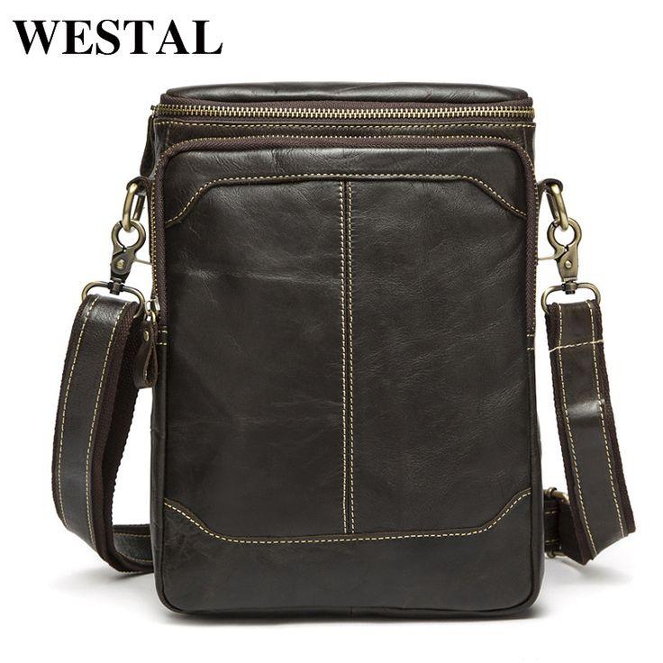 WESTAL Hot Sale Male Bags 100% Genuine Leather Men Bags Messenger Crossbody Shoulder Bag Men's Casual Travel Bag For Man 8003