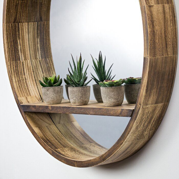 hammd wooden country with shelf wall mirror in 2020 on wall shelf id=94873