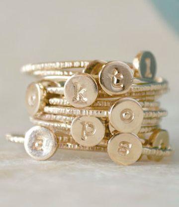 darling gold initial rings