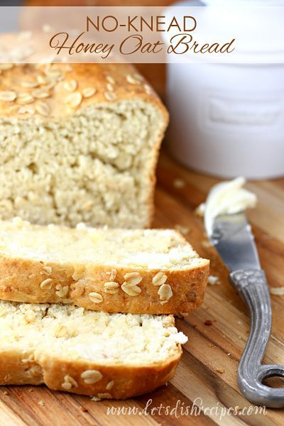 No-Knead Honey Oat Bread Recipe | This easy yeast bread is sweetened with honey and loaded with oats. Perfect for toast, sandwiches and snacking.(Baking Bread Recipes)