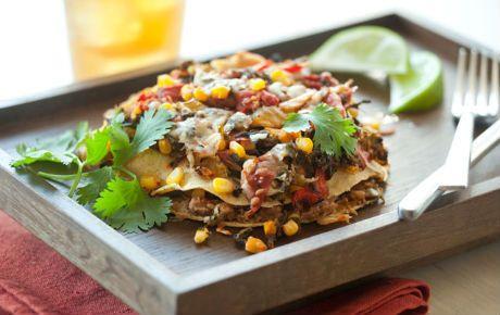 Layered veggie enchiladas