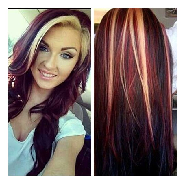 I need my hair to be a little longer but I wanna do my bangs blonde and the rest of my hair red with blonde and black pieces❤