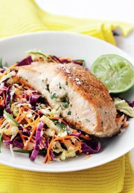 Barbecued Salmon with Asian Slaw. A fast and easy dinner for any day of the week. #Woolworths #recipe #seafood http://www.woolworths.com.au/wps/wcm/connect/Website/Woolworths/FreshFoodIdeas/Recipes/Recipes-Content/barbecuedsalmonwithasianslaw