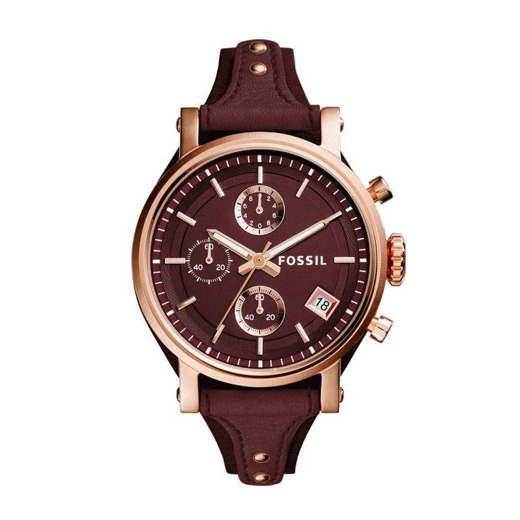 Fossil Fossil Armbanduhr – Ladies Original Boyfriend Watch Leather Bordeaux – in rot – Armbanduhr für Damen