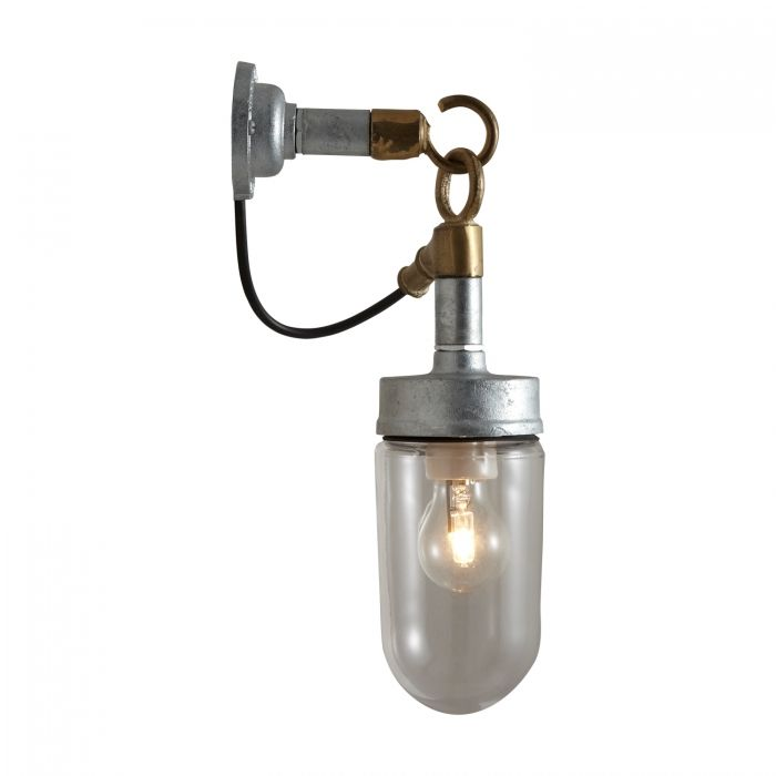 Great Well Glass Wall Light, Galvanised, Clear Glass 7679