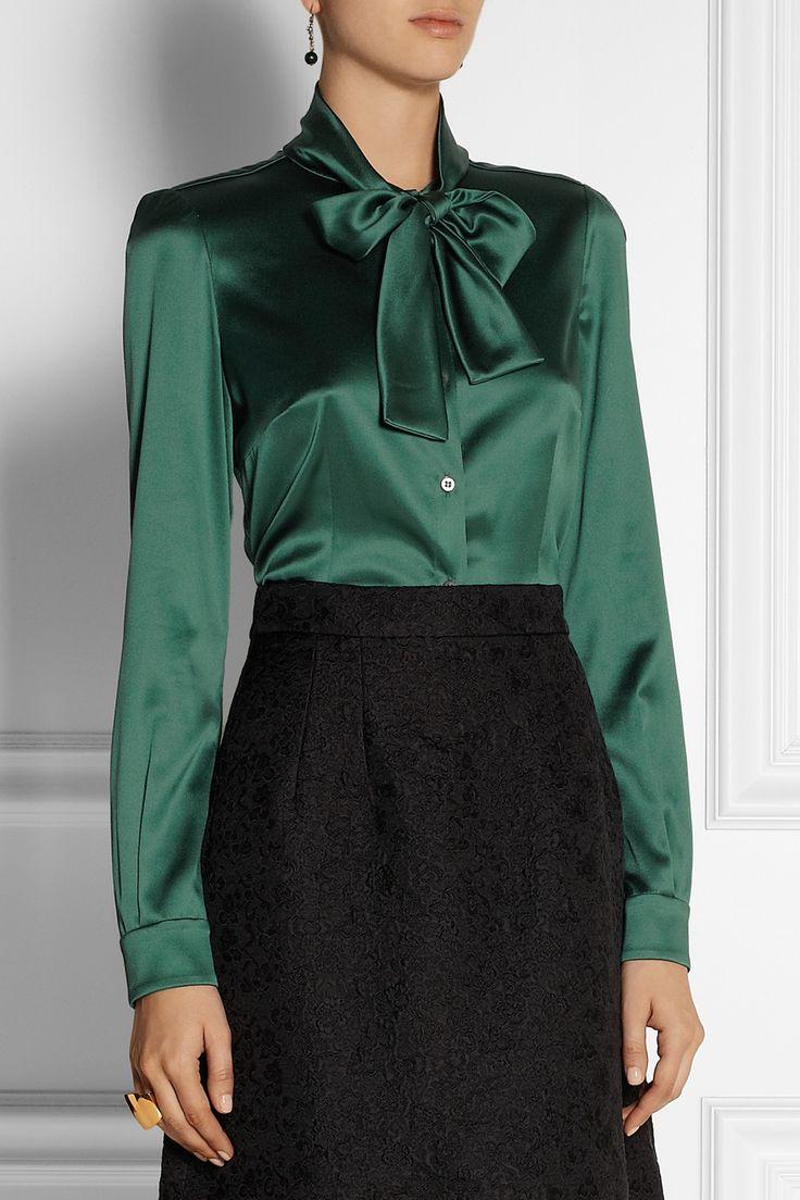 Dolce & Gabbana | Pussy-bow stretch-silk satin blouse | NET-A-PORTER.COM