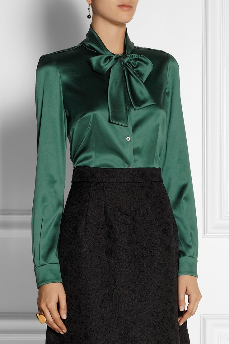 Dolce & Gabbana | Pussy-bow stretch-silk satin blouse | NET-A-PORTER.COM