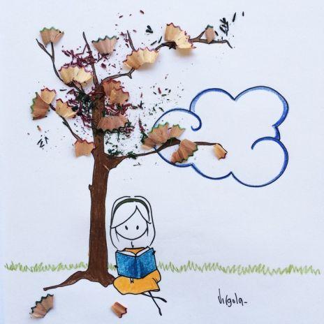 I resti di una matita temperata sono le foglie ingiallite di un albero d'autunno