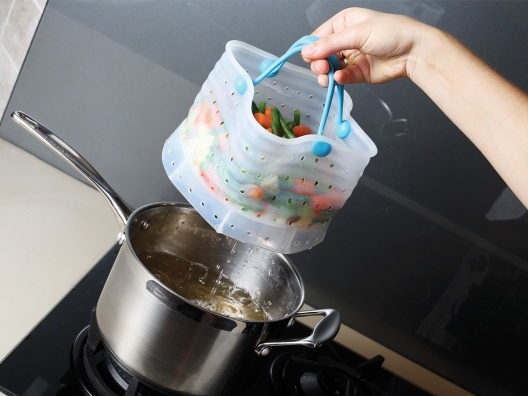 Easily boil, steam and strain your vegetables!!: Dinners Plates, Idea, Vegetables, Baskets, Kitchens Products, Dreamfarm Vebo, Pots Lids, Kitchens Gadgets, Wall Design