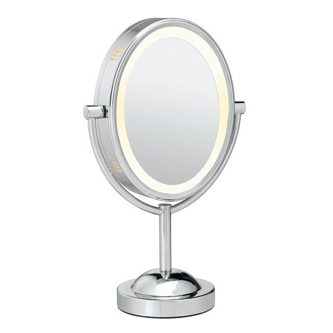 The double-sided design of this Conair makeup mirror gives you the option of regular or 7x magnification. The polished chrome finish will work with a variety of decors.