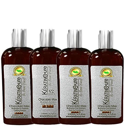 Keratin Cure Professional Brazilian Hair Treatment 5 Piece Kit Chocolate Max V2 Creamy 120ml 4 fl oz Repair Hydrate Healthy ** Click image for more details. #hairtreatment