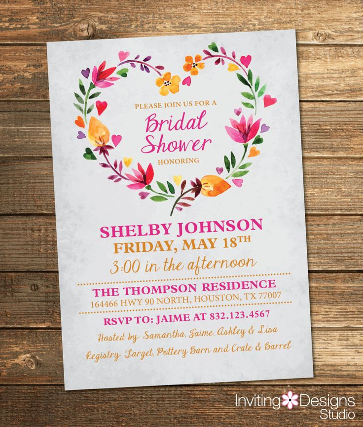 Bridal Shower Invitation Watercolor Floral by InvitingDesignStudio