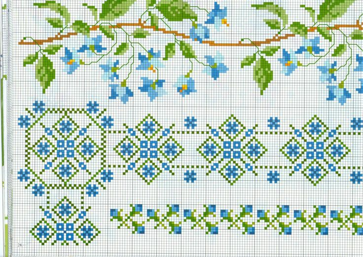 barrado de flores azuis - Ponto Cruz Lindos