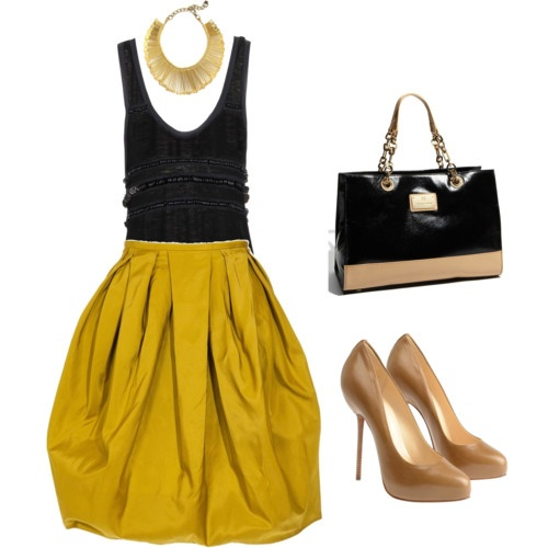 mustard black and nude