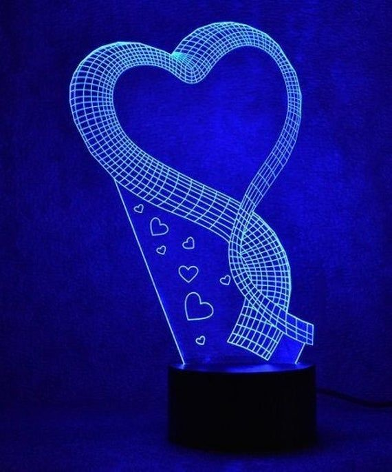 Heart Ribbon 3d Illusion Acrylic Led Lamp This Cnc Files Etsy In 2020 3d Illusions Etsy 3d Optical Illusions