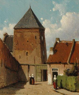 Johannes 'Jan' Weissenbruch (Den Haag 1822-1880) De Goilberdingerpoort in Culemborg, gezien vanuit het zuiden - Kunsthandel Simonis en Buunk, Ede (Nederland).