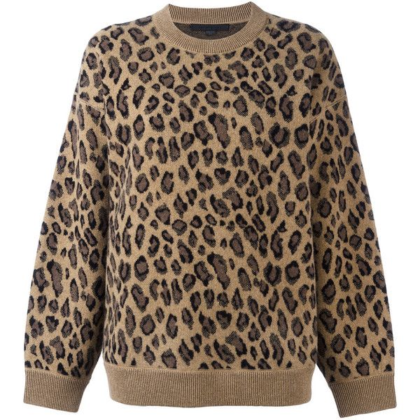Alexander Wang leopard print sweater ($685) ❤ liked on Polyvore featuring tops, sweaters, brown, over sized sweaters, oversized tops, long sleeve oversized top, brown top and leopard top