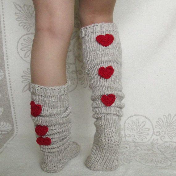 Valentine's day! Overknee socks! The trend in 2015 Knee high Socks Hand knit grey socks Wool socks Warm winter socks