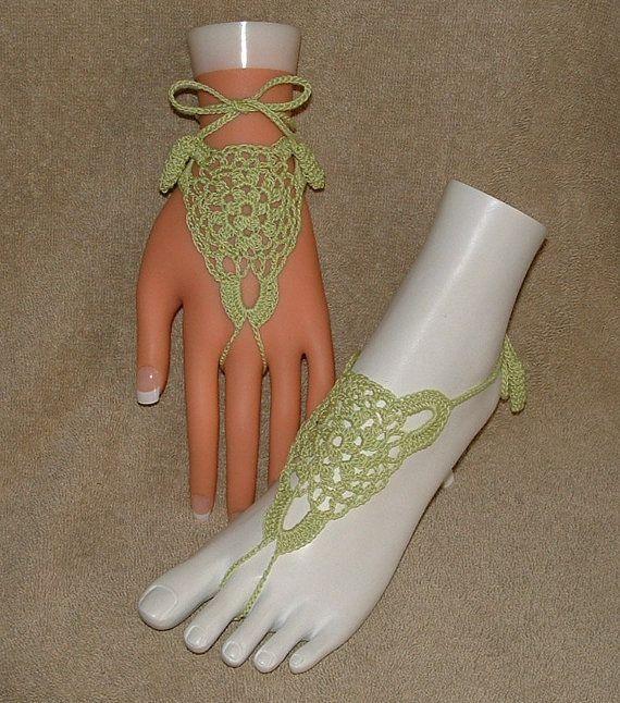 Free Beaded Slave Bracelet Patterns   Crochet Barefoot Sandals / Slave Bracelets /Eyelet Design in Bright ...