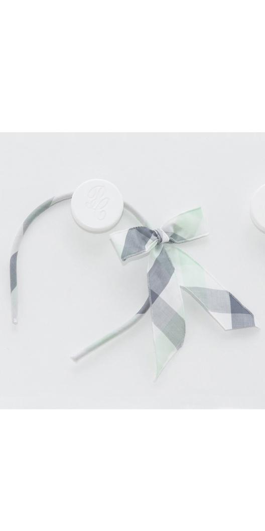Серо-зеленый клетчатый ободок сбантом. Pili Carrera