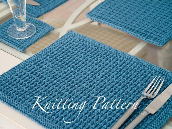 Trevarren Placemat Set Knitting Pattern Knitted Placemats Etsy Placemats Patterns Knitting Patterns Placemats