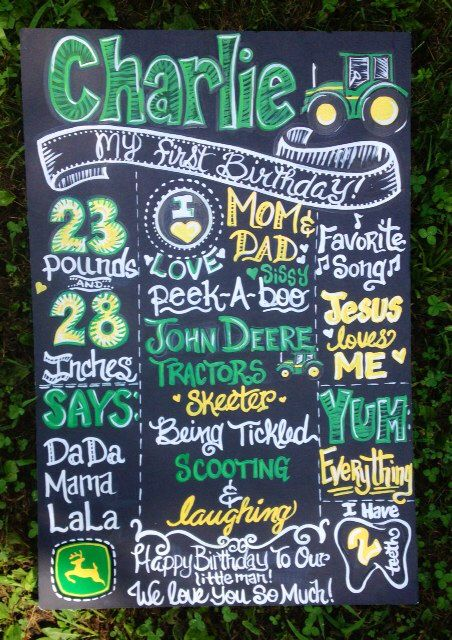 I painted this John Deere Tractor themed birthday board for a little boy's first birthday!