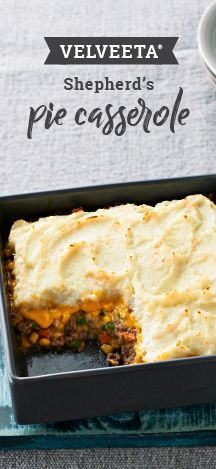 Velveeta Shepherd's Pie Casserole – Buttery mashed potatoes, skillet-browned ground beef plus corn make this crowd-pleasing cheesy casserole recipe your new in-house pub favorite. Whip up this winter dish for your dinner table in just 40 minutes.