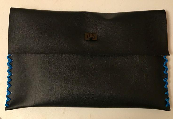 Black vinyl punk rock blue hand stitched clutch bag by RufusandOscar on Etsy