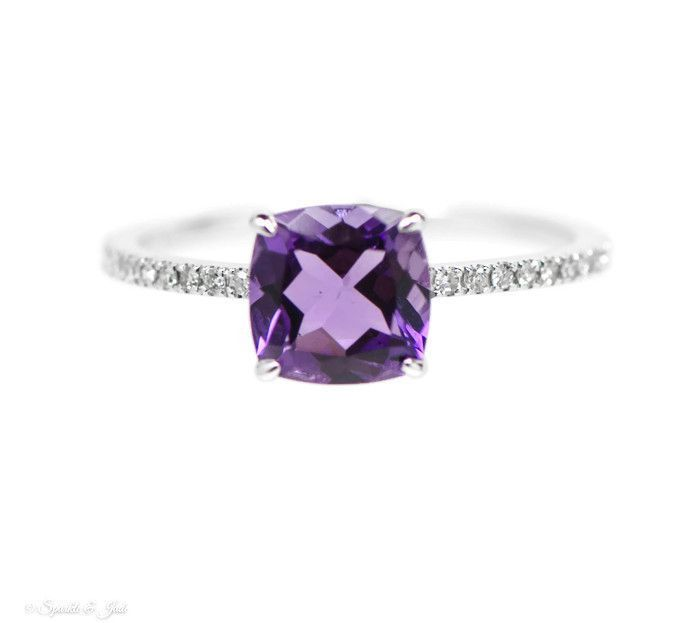 14k White Gold Diamond And Amethyst Antique Square Cushion Ring , - Sparkle & Jade - 1