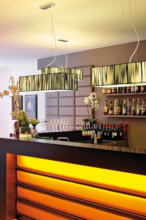 Eclectic Bar with Pendant light, Built-in bookshelf
