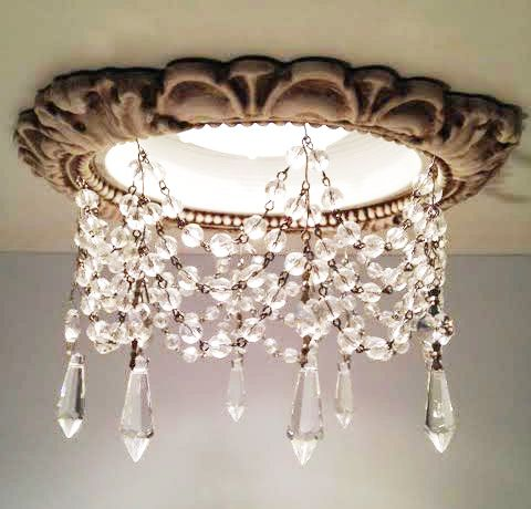 recessed light trim with crystals in victorian style with u-drops in clear