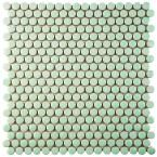 Merola Tile Comet Penny Round Mint 11-1/4 in. x 11-3/4 in. x 9 mm Porcelain Mosaic Tile, Green/Mixed Finish